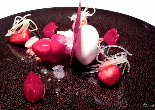 Frutos rojos del bosque al ron con helado de Coco