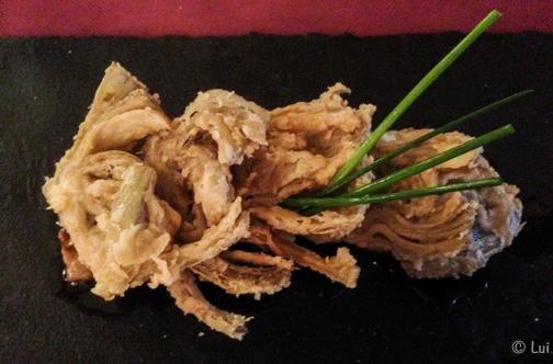 foie a la plancha con chip de alcachofas y Pedro Ximenez