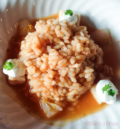 Arroz de cordero y huerta con cebolletas encurtidas restaurante la Balsa