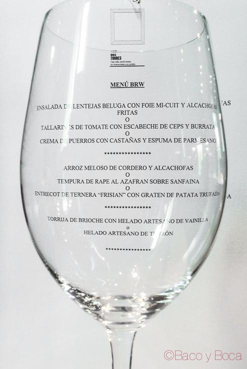 Menu restaurant weed copa de vino Dos Torres restaurante Barcelona