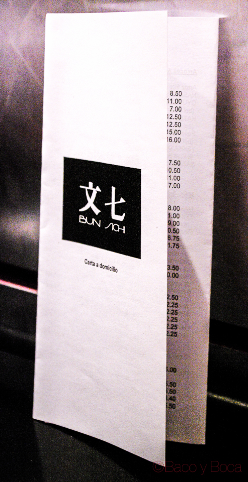 Carta servicio domiclio Bun Sichi restaurante japones barcelona