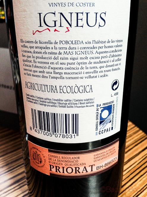 Igneus Priorat Gratallops etiqueta trasera en centonze restaurante barcelona