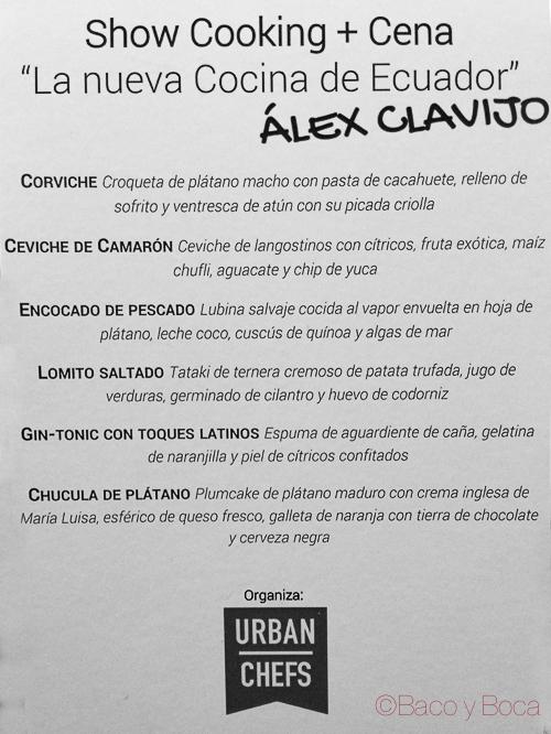 Menú Alex Clavijo urbans Chefs baco y boca