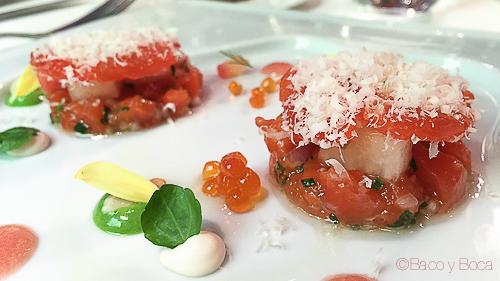 Salmon de Alaska marinado con melon ensalada y almendras Rota Das Estrelas nectari baco y boca