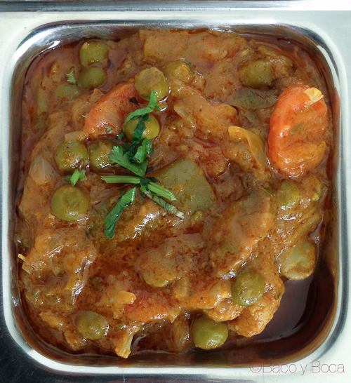 Verduras al Curry en Sitar Restaurante Hindú Baco y Boca