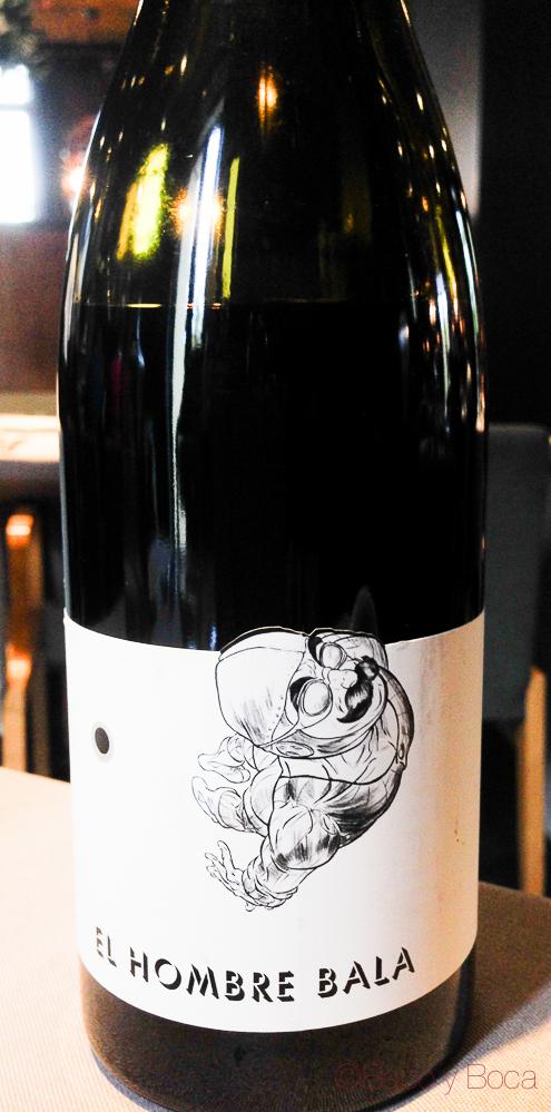 Botella El hombre Bala vino Dos Torres restaurante Barcelona