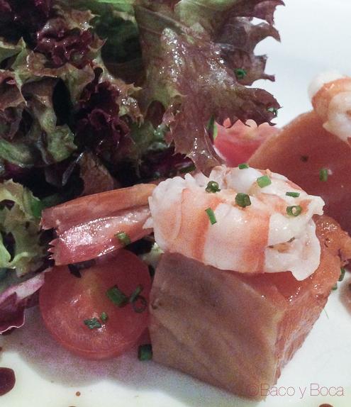 langostinos y tacos de salmon marinados tunel en Marc Palou