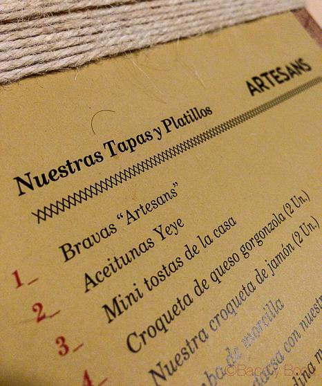 detalle carta Artesans Born Baco y Boca