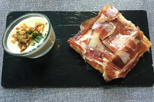 chupito de crema de puerros y tosta de jamon Anna brunch codorniu Hesperia bacoyboca